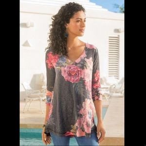 Soft Surroundings Midnight Blooms Top